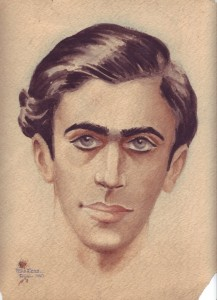 """Self-portrait of John (Hans) Less. The watercolor is signed """"Hans Less"""" and dated """"Febr. 1940.""""  He was 16 years old at this point, half a year before he left Berlin for Shanghai. Private collection of Dr. Steven Less."""